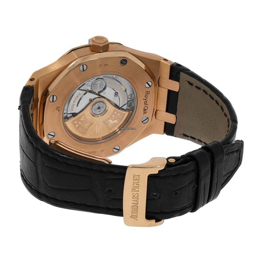 Audemars Piguet Royal Oak Rose Gold Black Leather Watch - 41mm-replica