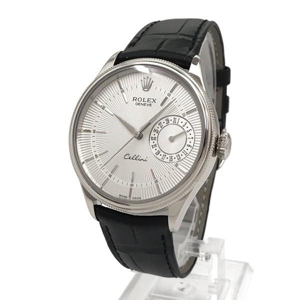 Rolex Cellini Date 39mm 50519 Silver Black Strap - Replica