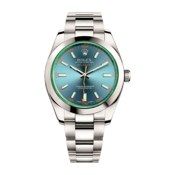 Rolex Milgauss Watch blue, dial green sapphire 40mm - Replica