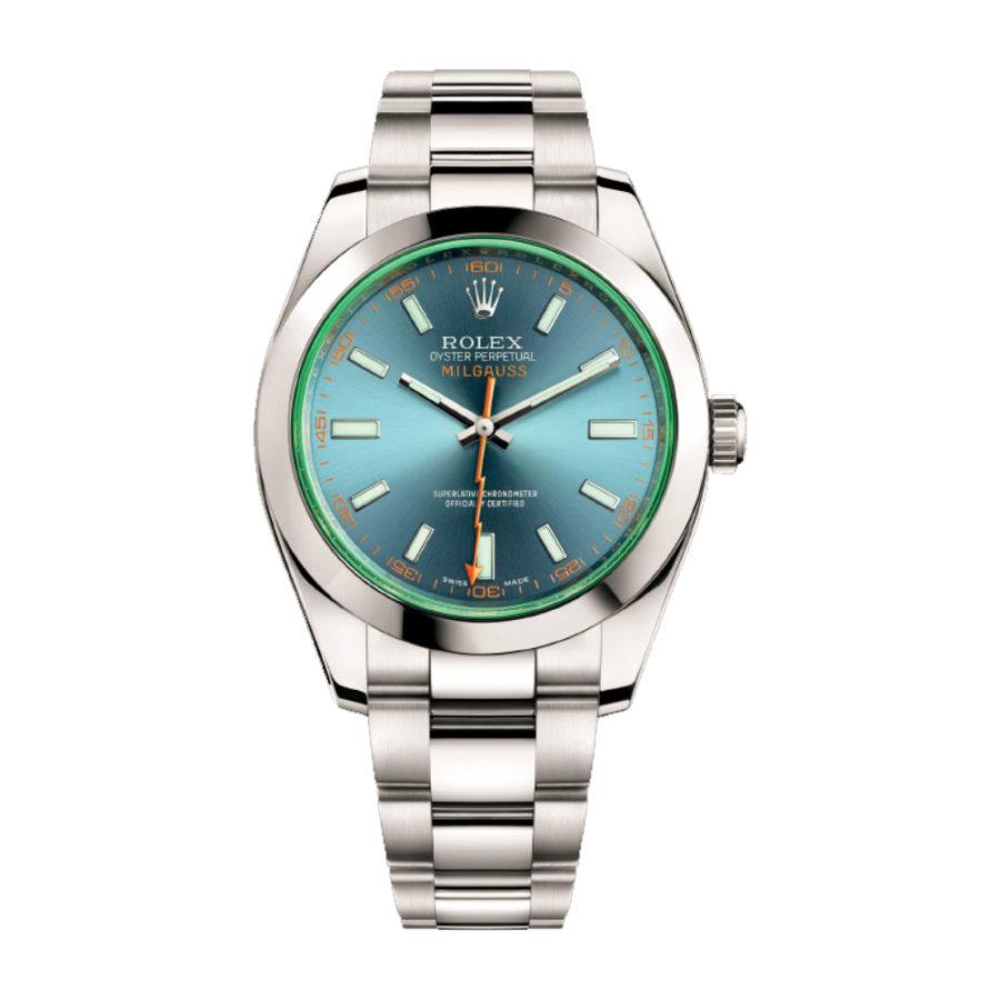 Rolex Milgauss Watch blue, dial green sapphire 40mm - Replica