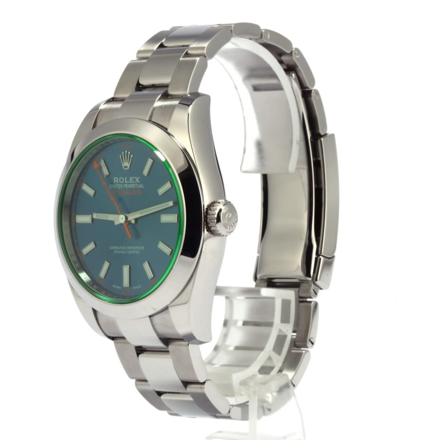 Rolex Milgauss Watch blue, dial green sapphire 40mm - Fake