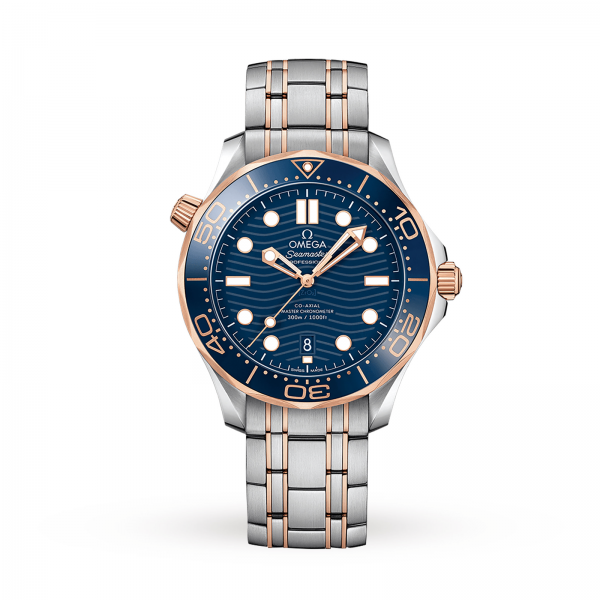 Omega Seamaster Diver 300m Co-axial Master Chronometer Blue Rose Gold 42mm-replica
