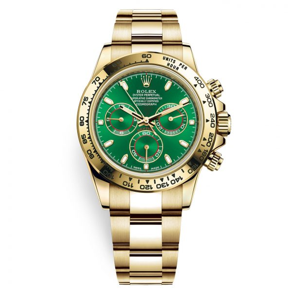 Rolex Cosmograph Daytona 116508 Green Index Oyster Yellow Gold Mens Watch-replica