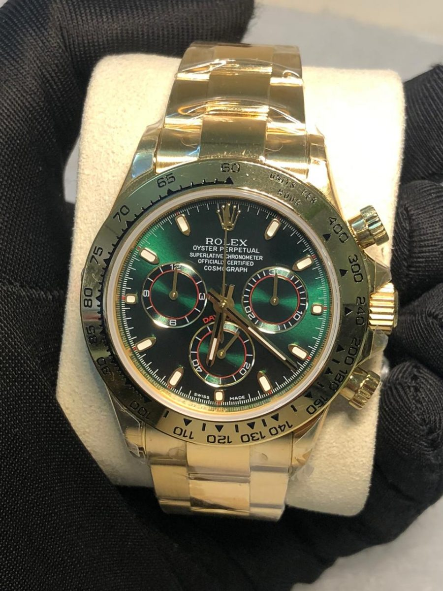 Rolex Cosmograph Daytona 116508 Green Index Oyster Yellow Gold Mens Watch-fake