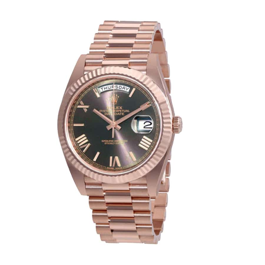 Rolex Day-Date 40 President Chocolate Roman Dial 18k Rose Gold-fake